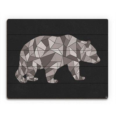 "Click Wall Art 'Crystal Bear on Black' Graphic Art on Wood Size: 20"" H x 24"" W x 1"" D"