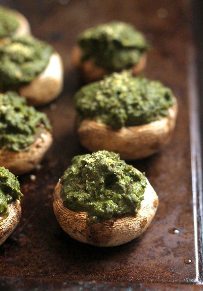 Vegan Basil Hummus Stuffed Mushrooms