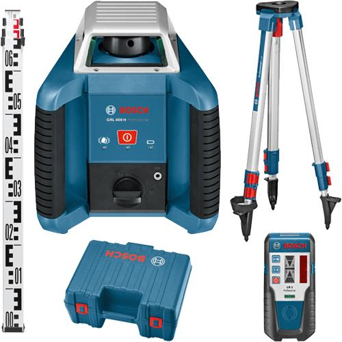 Bosch Grl 400 H 400m Rotary Laser Level Set With Rod Receiver Tripod In 2020 Laser Levels Bosch Bosch Tools