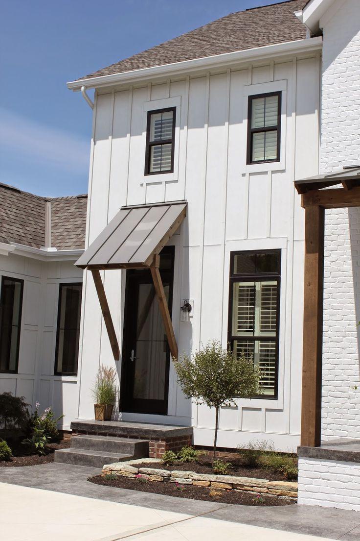 white house, black trim windows Modern farmhouse