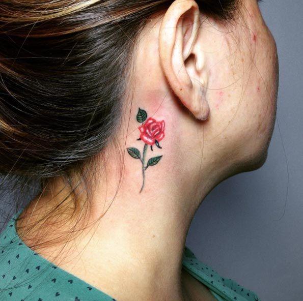 40 Amazing Behind The Ear Tattoos For Women Tattooblend Rose Tattoo Behind Ear Small Crown Tattoo Behind Ear Tattoos