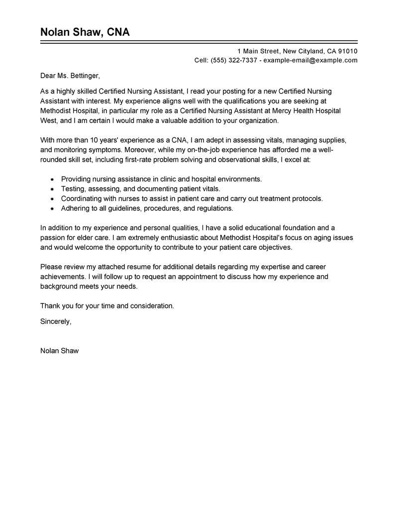 Leading Professional Nursing Aide And Assistant Cover Letter