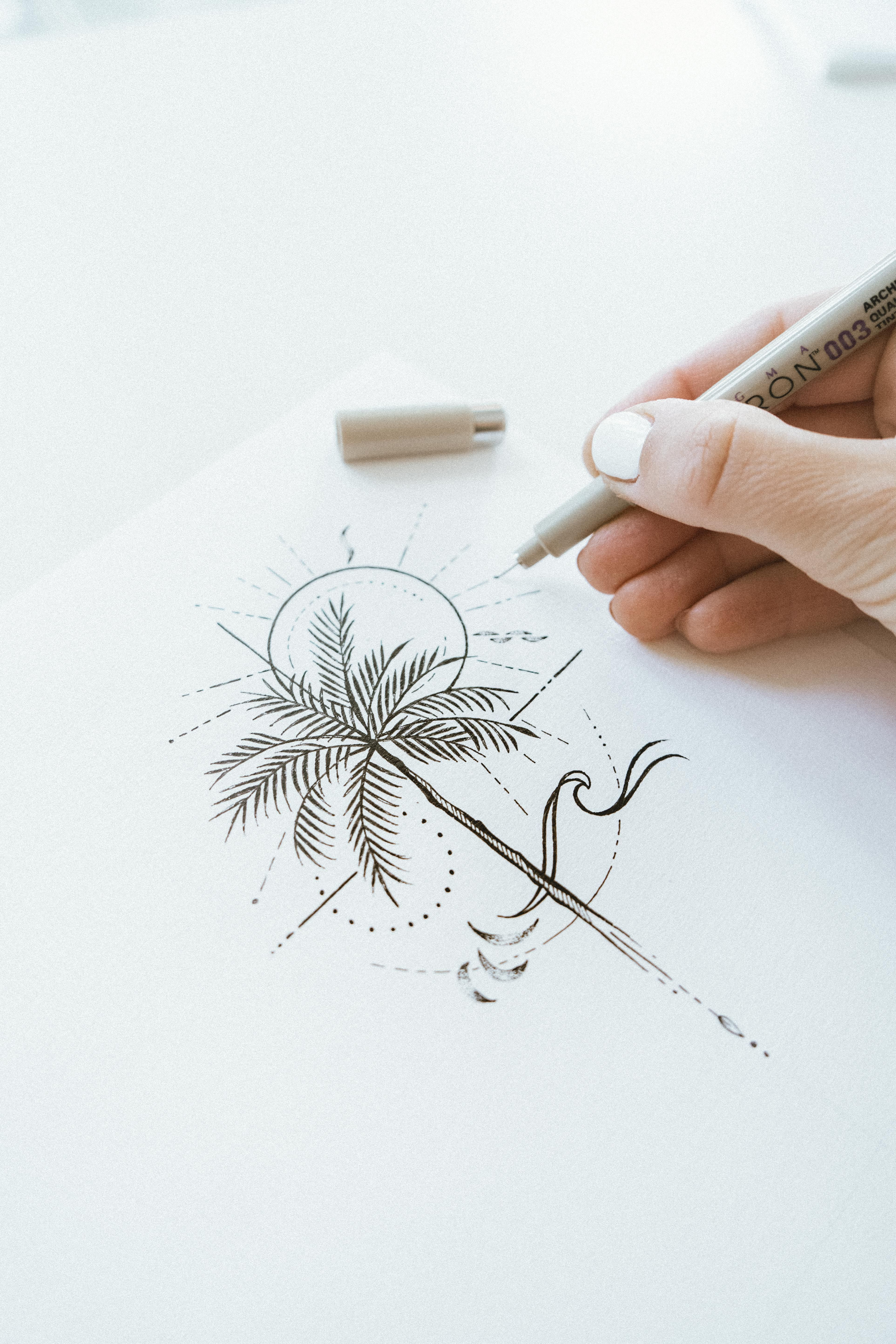 Palm tree delicate line-drawing artwork perfect for small tiny tattoo idea for travel lovers