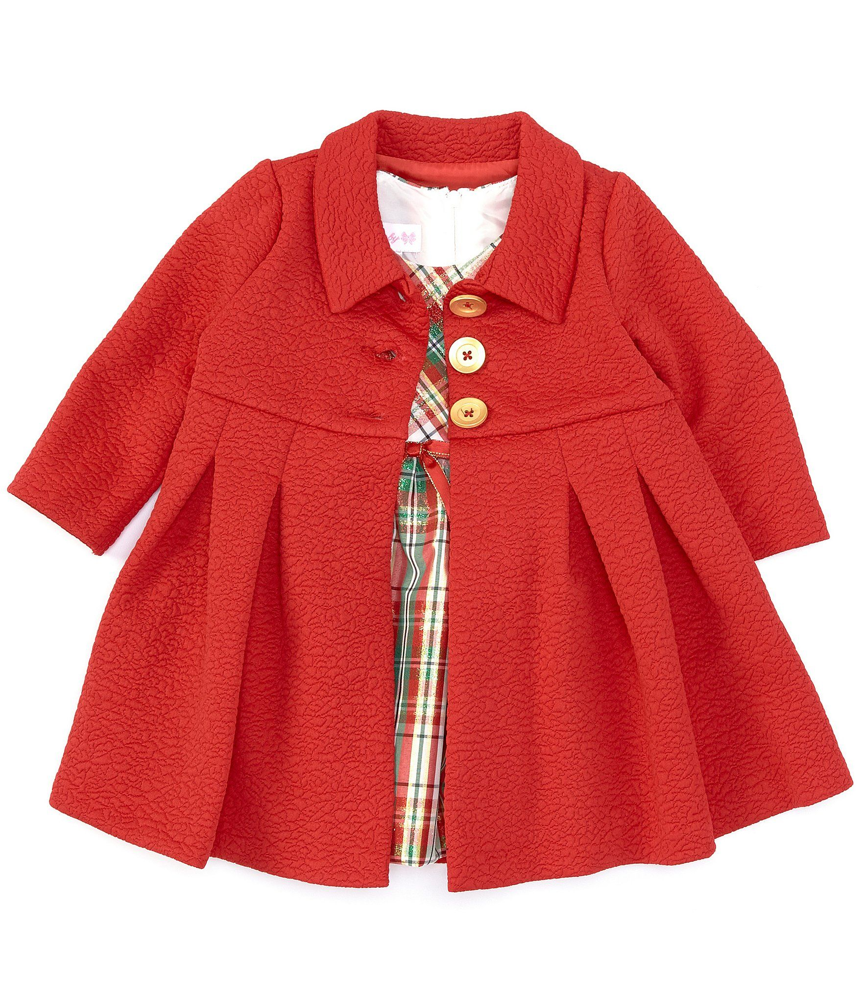 Photo of Bonnie Jean Baby Girls Newborn-24 Months Textured-Knit Coat  Plaid Taffeta Fit-And-Flare Dress Set – Red 6/9