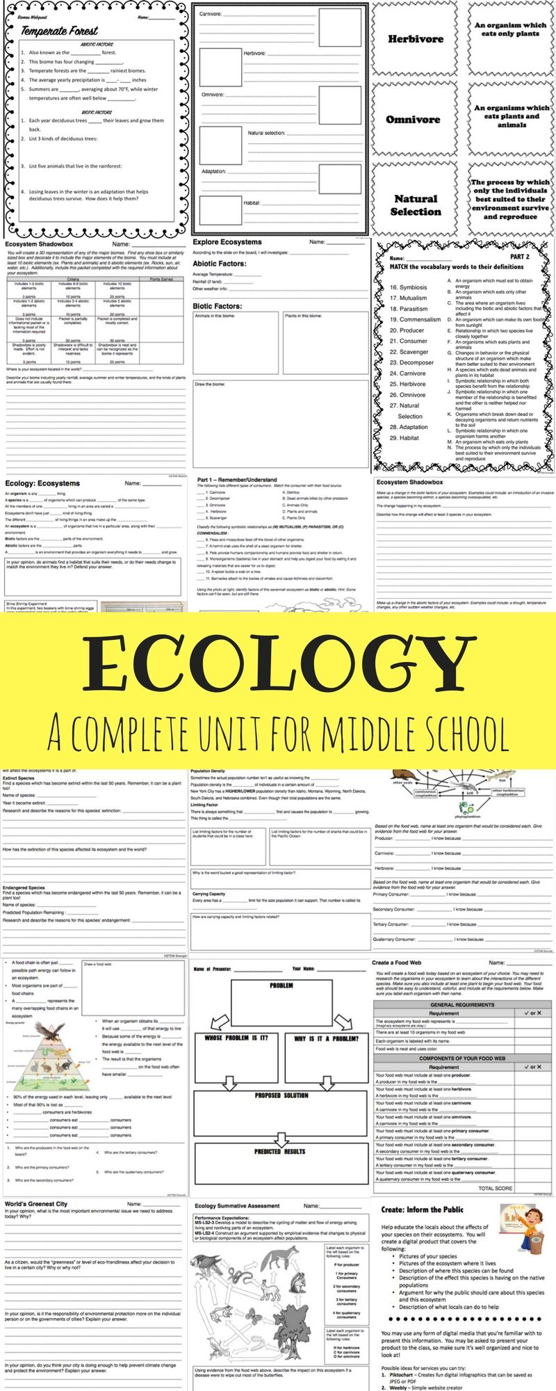 A Complete Ecology Unit For Middle School Including Presentations Student Notes Act Middle School Science Class Relationship Worksheets Middle School Biology