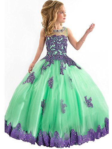 9ff82fa8636f QueenBridal Green Tulle Lace Beaded Ball Gown Flower Girl Dress for Wedding  14 -- Read more reviews of the product by visiting the link on the image.