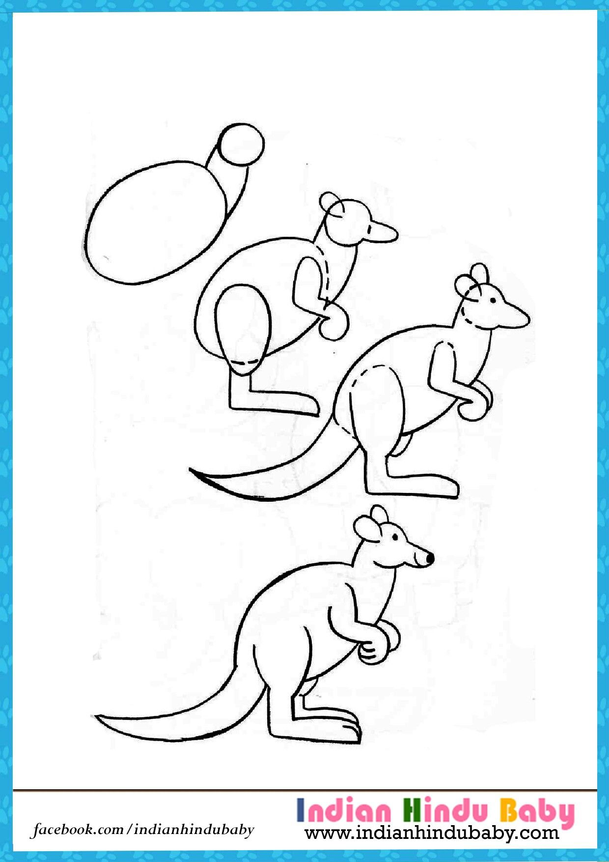 Drawing a kangaroo is easy even for a child, if you use the technique of step-by-step drawing