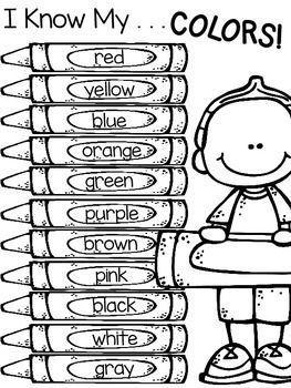 Color Words Freebie Teaching Colors Preschool Worksheets