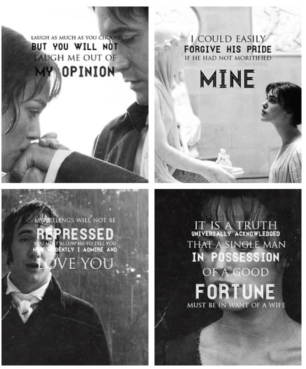 Pride and Prejudice by Jane Austen. Keira Knightley plays Elizabeth Bennet, Matthew MacFadyen plays Fitzwilliam Darcy in this motion picture adaptation.