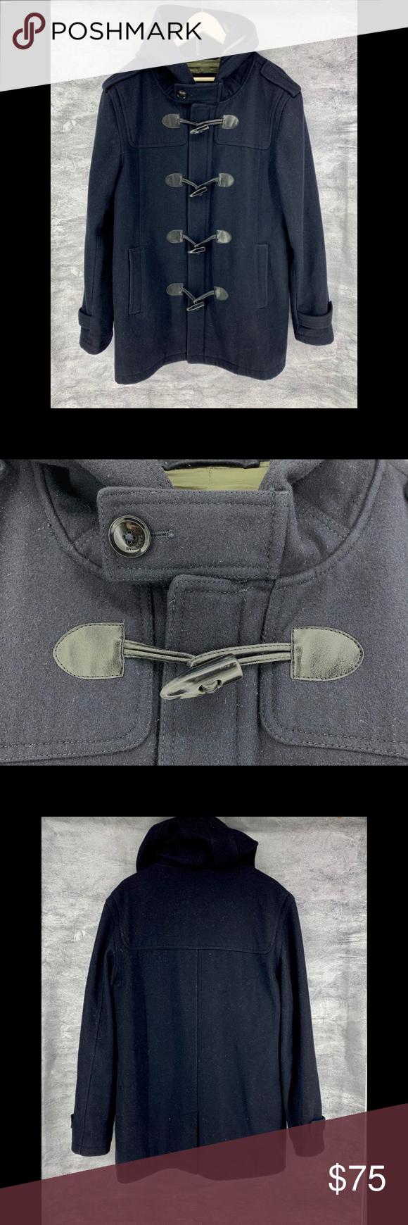 Zara Mens Toggle Coat W/Hood Size XL Color Black Zara Wool