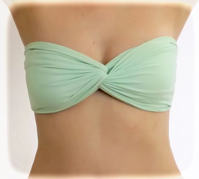 3b397aea37 by (2BeRoxy) Spandex Bandeau Bikini Top Swim Swimsuit Nile Green Mint  Twisted Bandeau