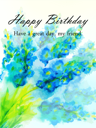 Send Free Blue Watercolor Flowers Happy Birthday Card For Friends To