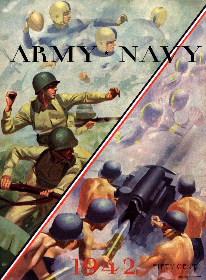1942 Navy Midshipmen vs Army Black Knights 36 x 48 Canvas