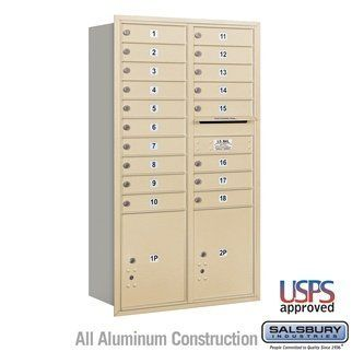 4C Horizontal Mailbox - 15 Door High Unit (55 Inches) - Double Column - 18 MB1 Doors / 2 PL5's - Sandstone - Rear Loading - USPS Access by Salsbury Industries. $1147.50. 4C Horizontal Mailbox - 15 Door High Unit (55 Inches) - Double Column - 18 MB1 Doors / 2 PL5's - Sandstone - Rear Loading - USPS Access - Salsbury Industries - 820996414076. Save 10% Off!