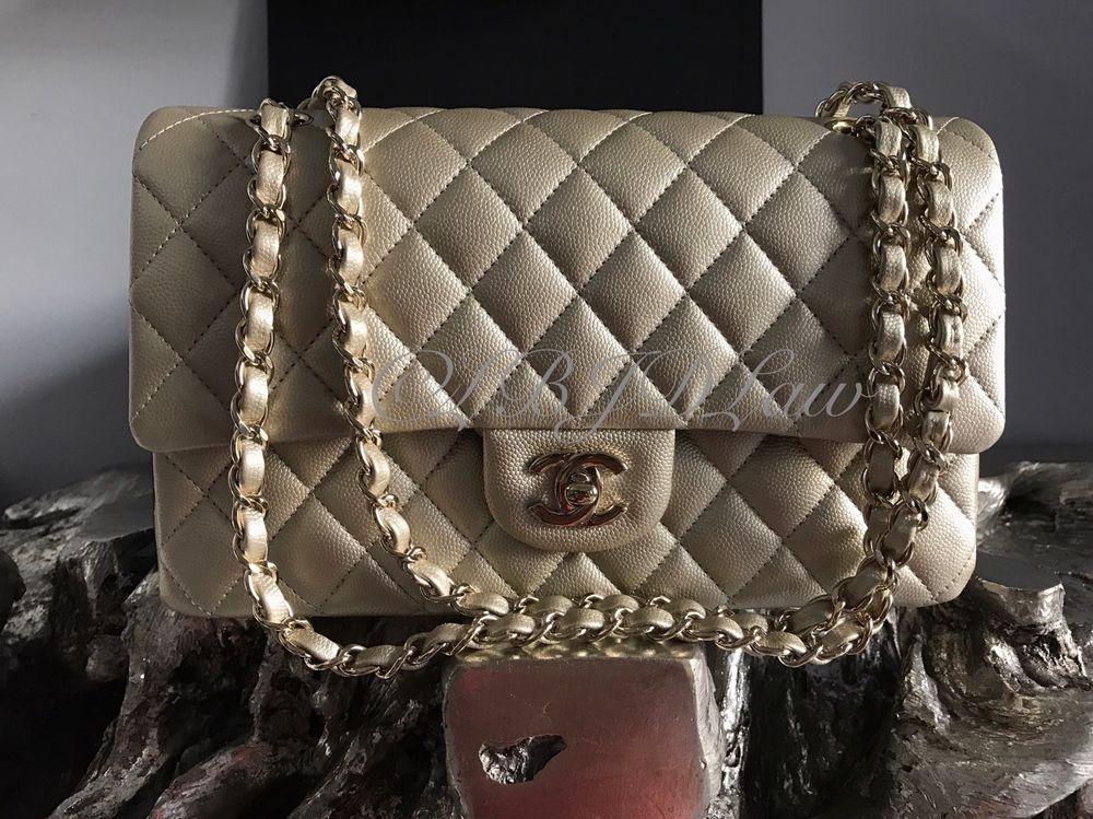 e9853ef66cbe NWT CHANEL 2016 Classic Medium Large Flap Pearly Caviar Iridescent Gold 16B  NEW #CHANEL #ShoulderBag