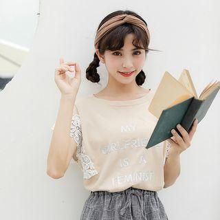 YesStyle - Lady Jean Letter Embroidered Lace Panel Short Sleeve T-Shirt - AdoreWe.com