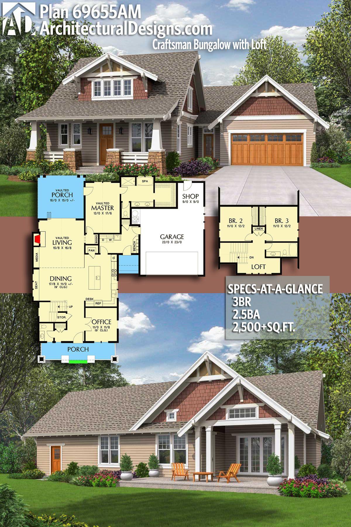 Plan 69655am Craftsman Bungalow With Loft Craftsman House Plans Craftsman House Dream House Plans