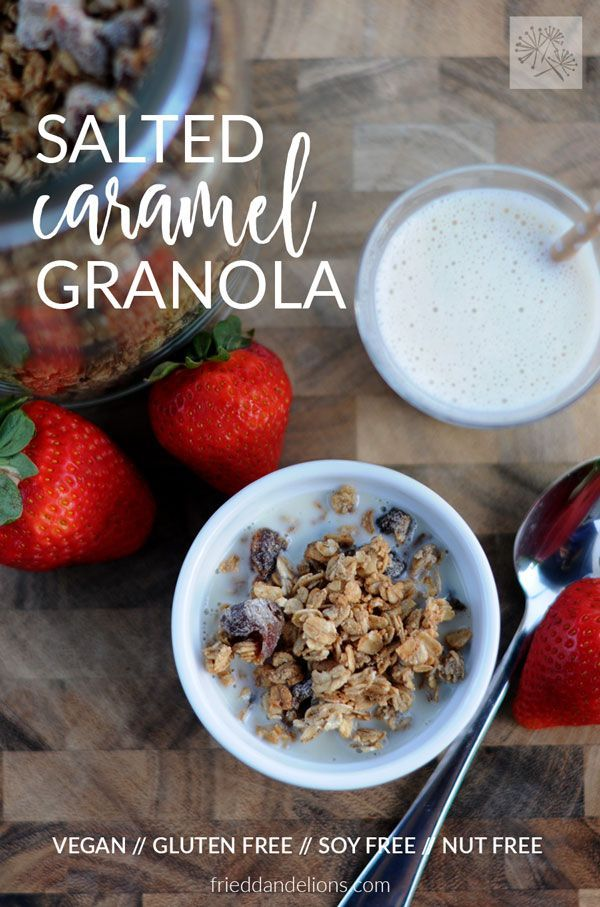 This Salted Caramel Granola is dessert for breakfast! Sweet caramel sauce, crunchy oats, and soft chewy dates—it's my favorite way to start the day! #vegan #glutenfree #nutfree #soyfree via @frieddandelions