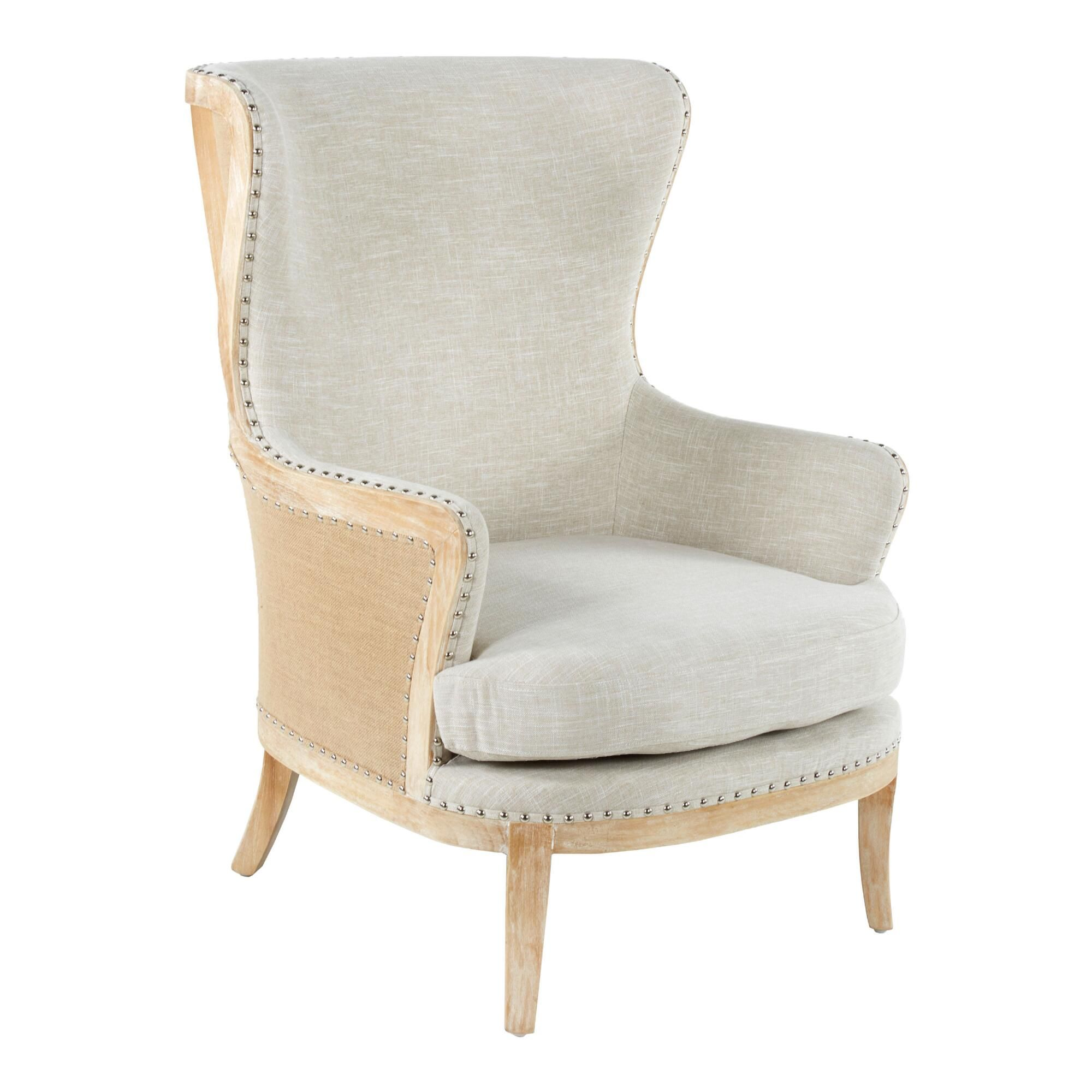 Beige Linen and Wood Sydney Upholstered Armchair: Natural ...
