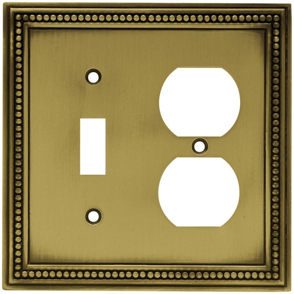 Hampton Bay Brass 2 Gang 1 Toggle 1 Duplex Wall Plate 1 Pack W10449 Abt Ch The Home Depot Plates On Wall Switch Plate Covers Switch Plates