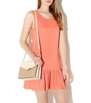 Coral and Stone Double Sided Structured Across Body Bag