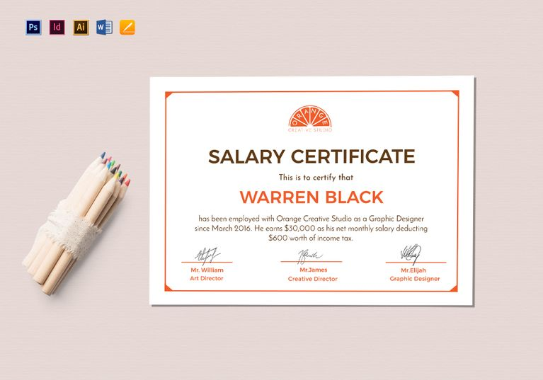 Monthly Salary Certificate Template $12 Formats Included - creative certificate designs