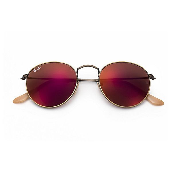 bce6dc1f5f Ray-Ban Round Metal Copper Sunglasses, Red Lenses - Rb3447 ($175) ❤ liked  on Polyvore featuring accessories, eyewear, sunglasses, red lens glasses,  ...