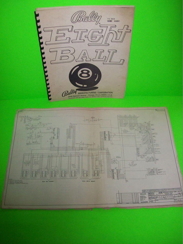 Bally EIGHT BALL 1977 ORIGINAL Pinball Machine SERVICE MANUAL With on