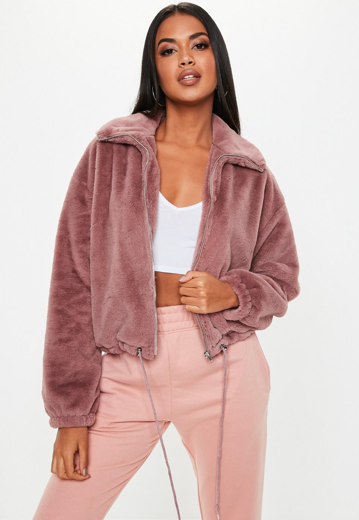d18e479b2 Missguided Mauve Cropped Faux Fur Bomber Jacket in 2019 | • fashion ...