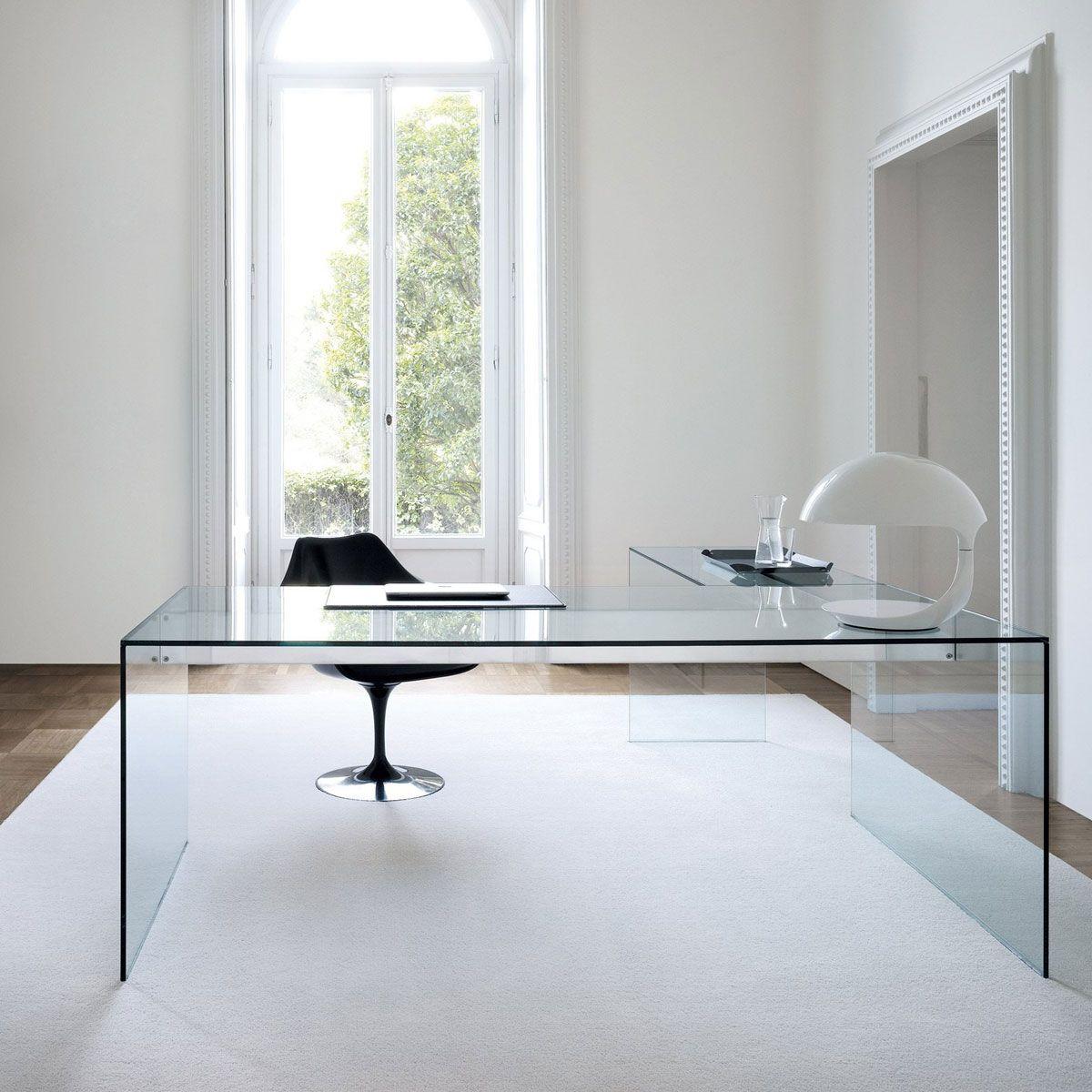 air glass desk l by gallotti radice klarity modern officeshome