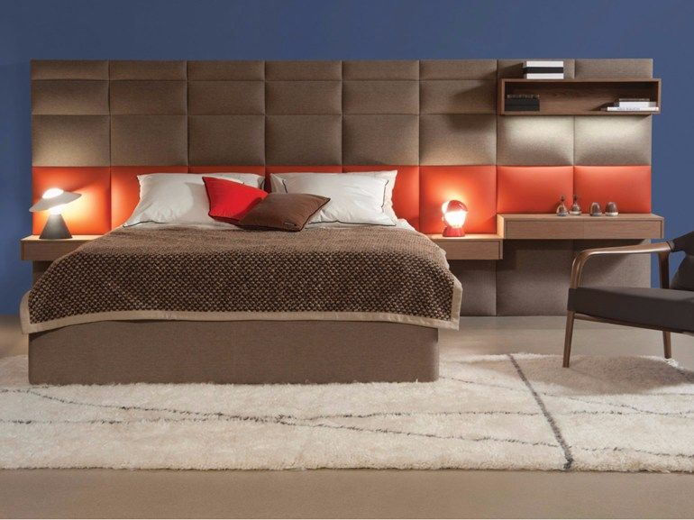 Fabric Double Bed With High Headboard Courchevel By Roche Bobois