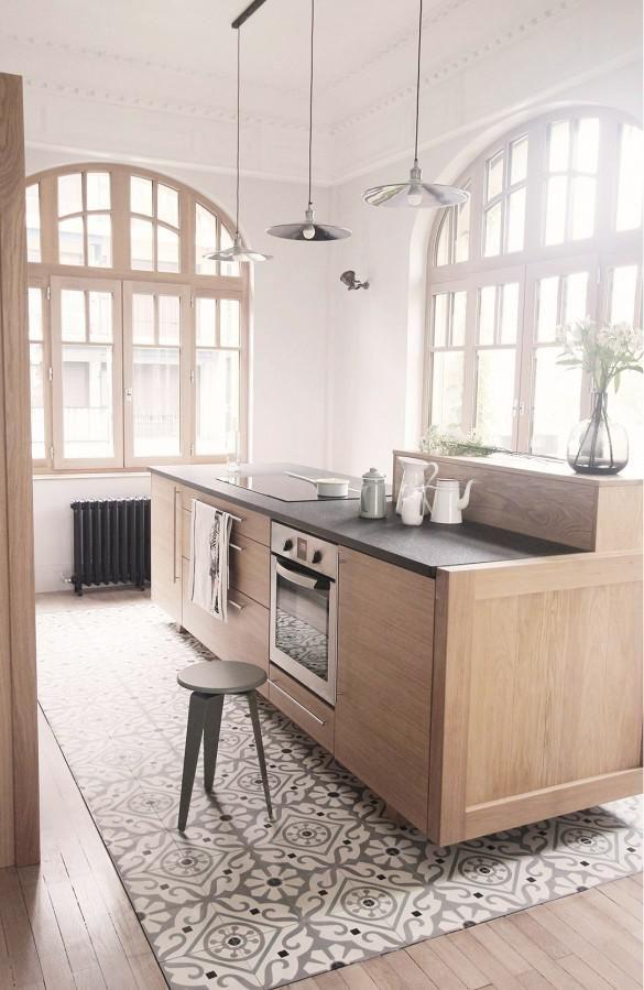 made on tulip tile meets wood house interior kitchen floor tile home decor on kitchen interior tiles id=81977