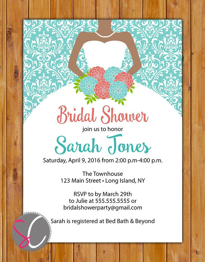coral teal bridal shower invitation bride to be gown african american damask wedding invite printable 5x7
