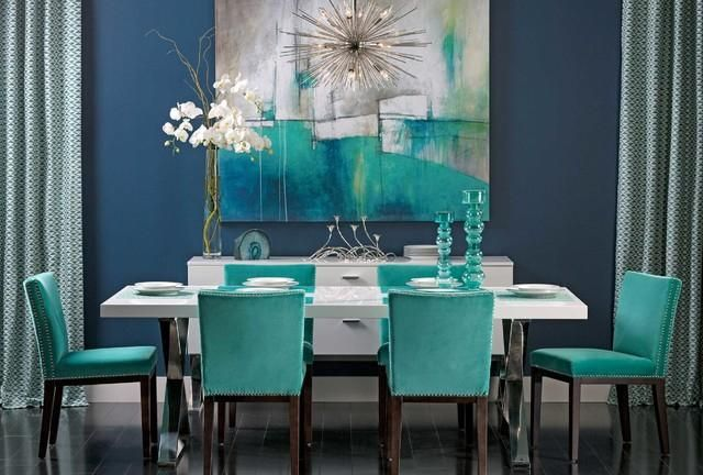 Dining Room Finished In A Gorgeous Shade Of Turquoise Bright Dining Rooms Turquoise Room Living Room Turquoise