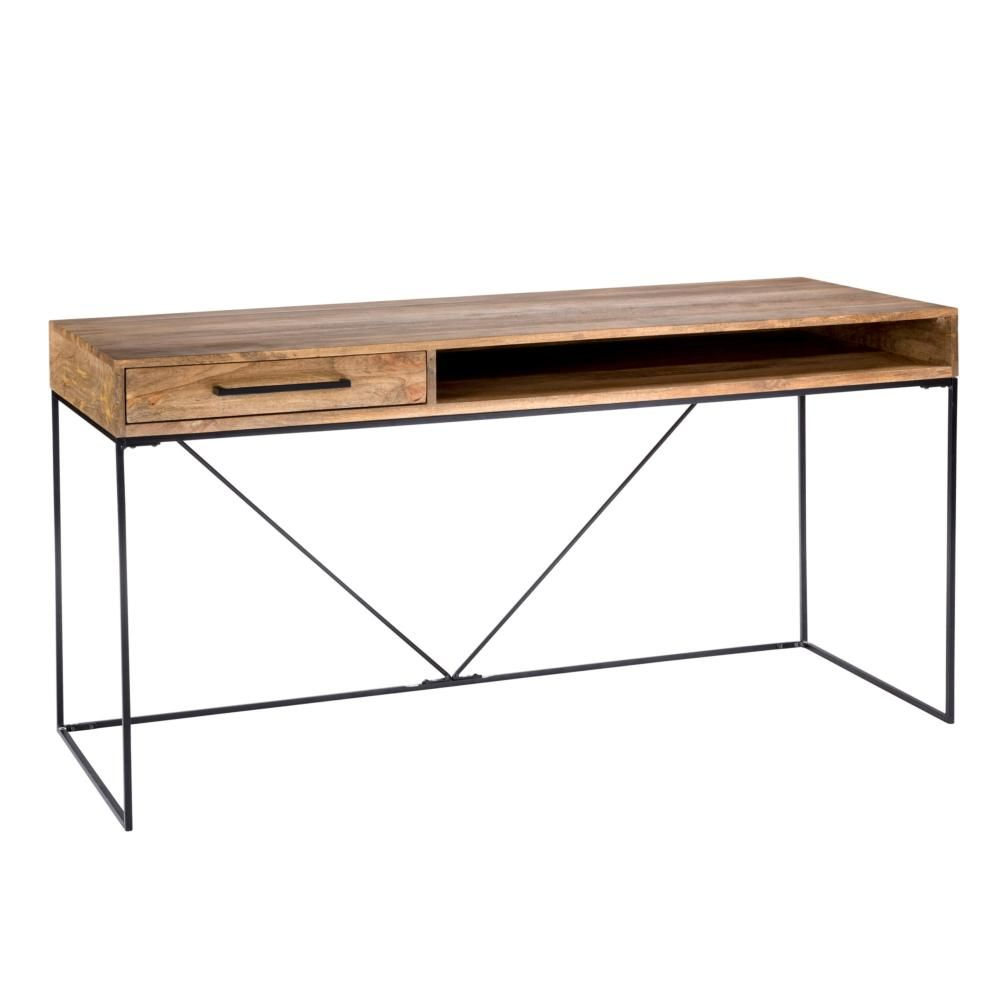 Colvin Desk in Natural Solid Mango Wood w/ Metal Frame – Simply ...