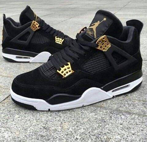 "2019 Air Jordan 4s Retro ""Royalty"" Black Gold Mens"