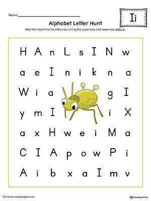 Alphabet Letter Hunt: Letter I Worksheet (Color)