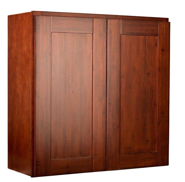 Bamboo Kitchen Cabinets - Brazilian Cherry Shaker Double ...