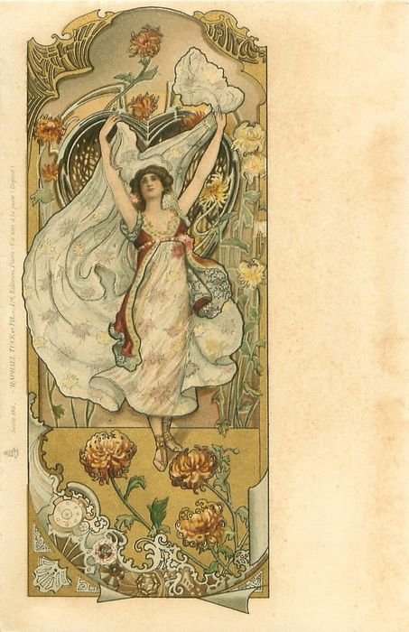 woman wearing white dress with stars, both arms above her head, she looks front & up