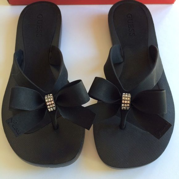 c31ca97997944a Guess tutu bow rhinestone flip flops black sandals New with box. So  adorable! Guess Shoes Sandals