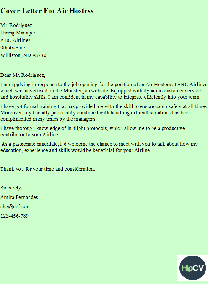 Wonderful Cover Letter For Air Hostess Https://hipcv.com/