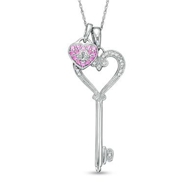 Lab created pink sapphire and diamond accent heart key and lock lab created pink sapphire and diamond accent heart key and lock pendant set in sterling silver zales aloadofball Image collections