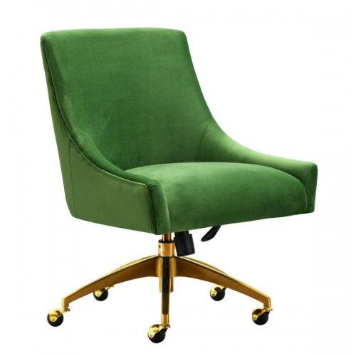 Green Velvet Swivel Office Desk Chair Gold Base Wheels Velvet Office Chair Swivel Office Chair Office Chair Upholstered desk chair with wheels