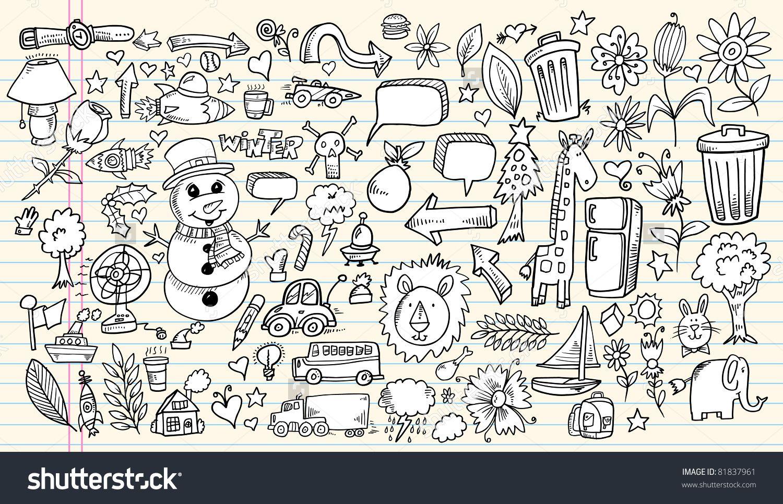 Notebook Doodle Sketch Design Elements Mega Vector