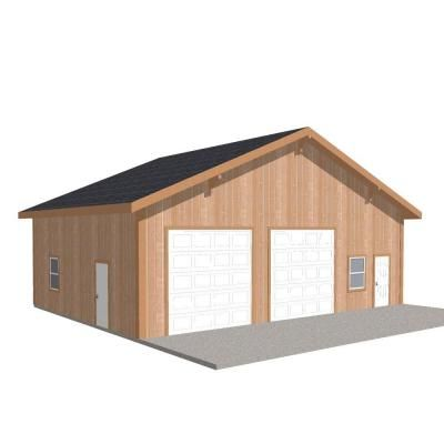 Barn Pros Workshop 40 Ft X 30 Ft Engineered Permit Ready Wood Garage Package Installation Not Included Thd Bp3040ws The Home Depot Garage Packages Garage Workshop Plans Wood Garage Kits