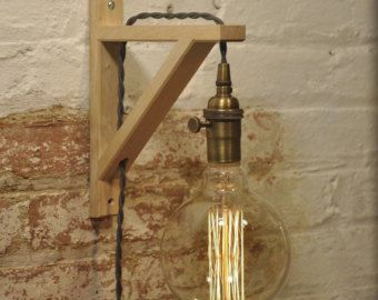 Wall sconce antique brass birch wood light lamp industrial retro