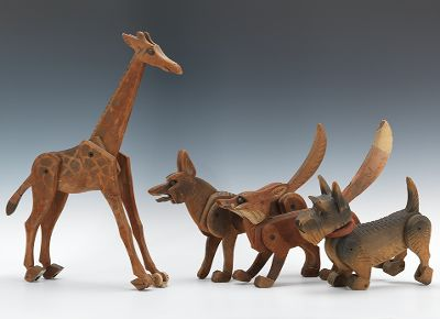 411. Four Early 1900's Articulated Folk Art Wood Toy's - October 2012 Auction - ASPIRE AUCTIONS