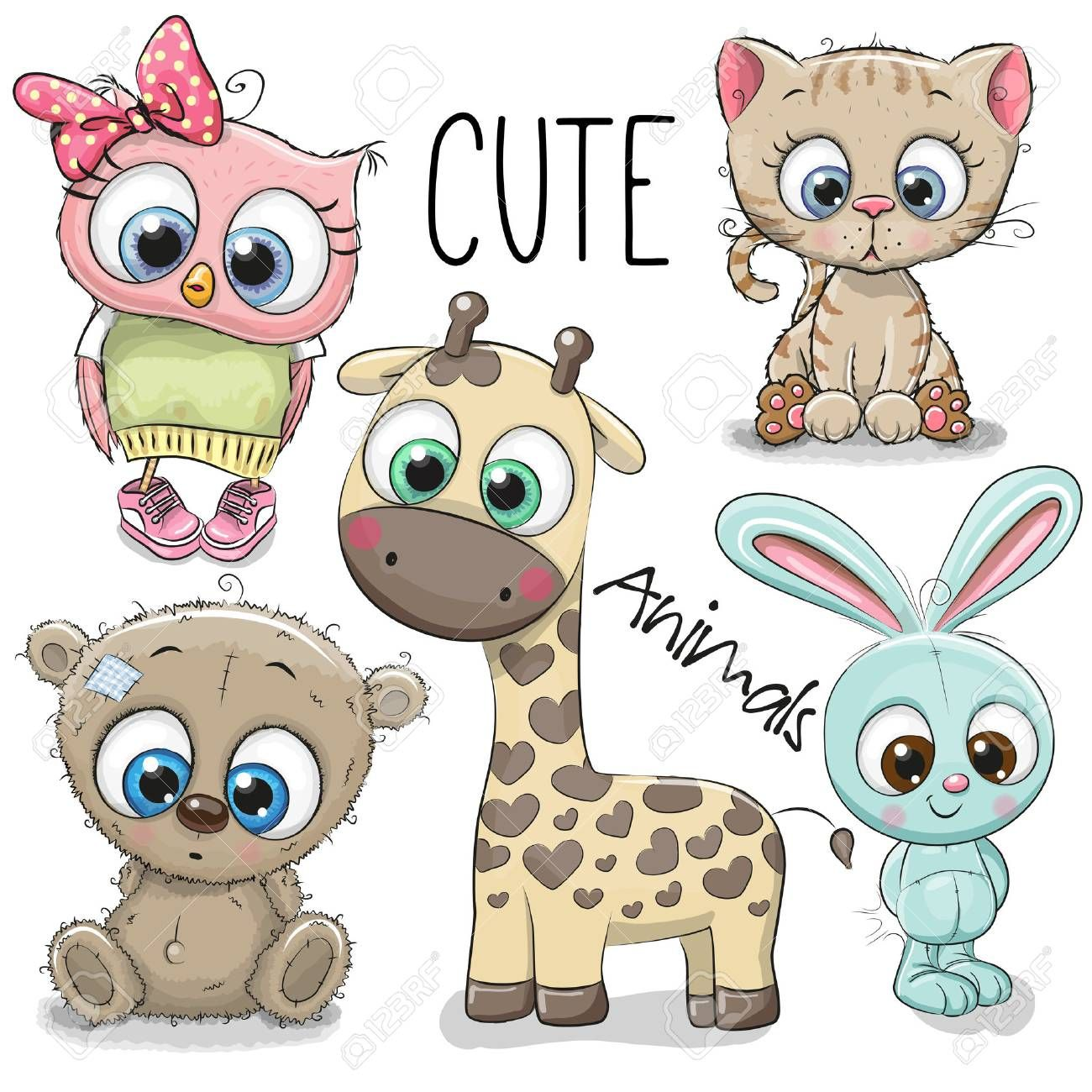 Set Of Cute Animals On A White Background Cartoon Drawings Of Animals Cute Animal Drawings Cute Animals