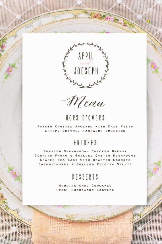 Wreath Wedding Menu Cards Printed Vintage Rustic Flat Menus For Place
