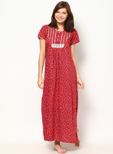 2ca9bf40dbe7 Buy Silky Maroon Printed Cotton Nighty for Women Online India